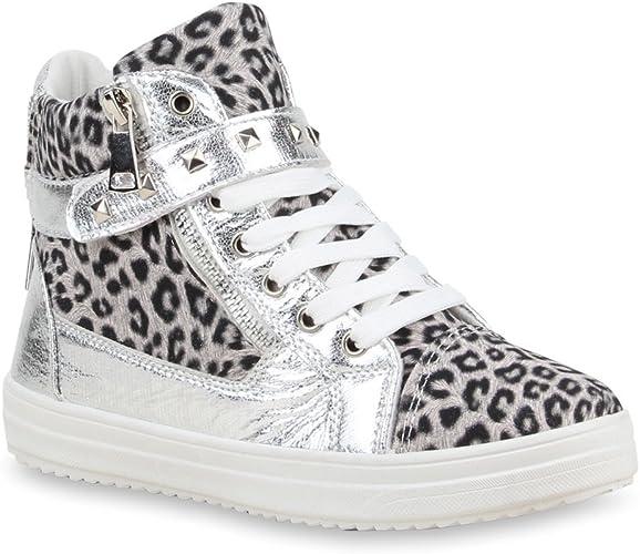Damen Sneaker high Tierprint Animal Print Reißverschluss Glitzer Nieten in Mehreren Farben 36 41 Flandell