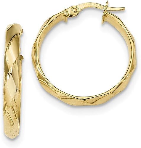 Lex /& Lu 14k Yellow Gold Polished Twisted Circle Hoop Earrings