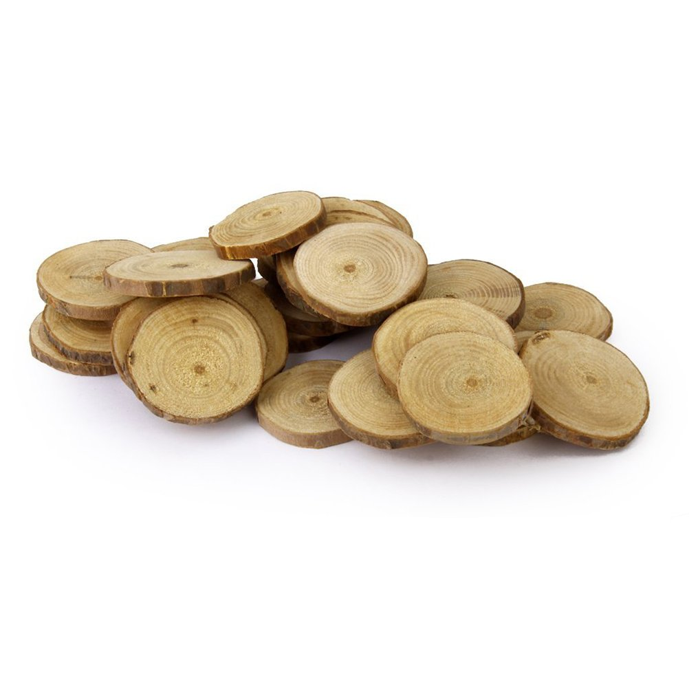 OULII Wood Log Slices Discs Christmas Wedding Centerpieces for DIY Crafts, 4-5CM, 30pcs