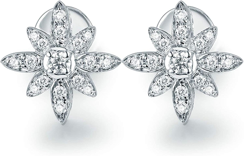 ButiRest Pendientes oro 750, pendientes flor oro blanco 18 quilates con cuatro garras talla redonda 0,14 ct diamante VS