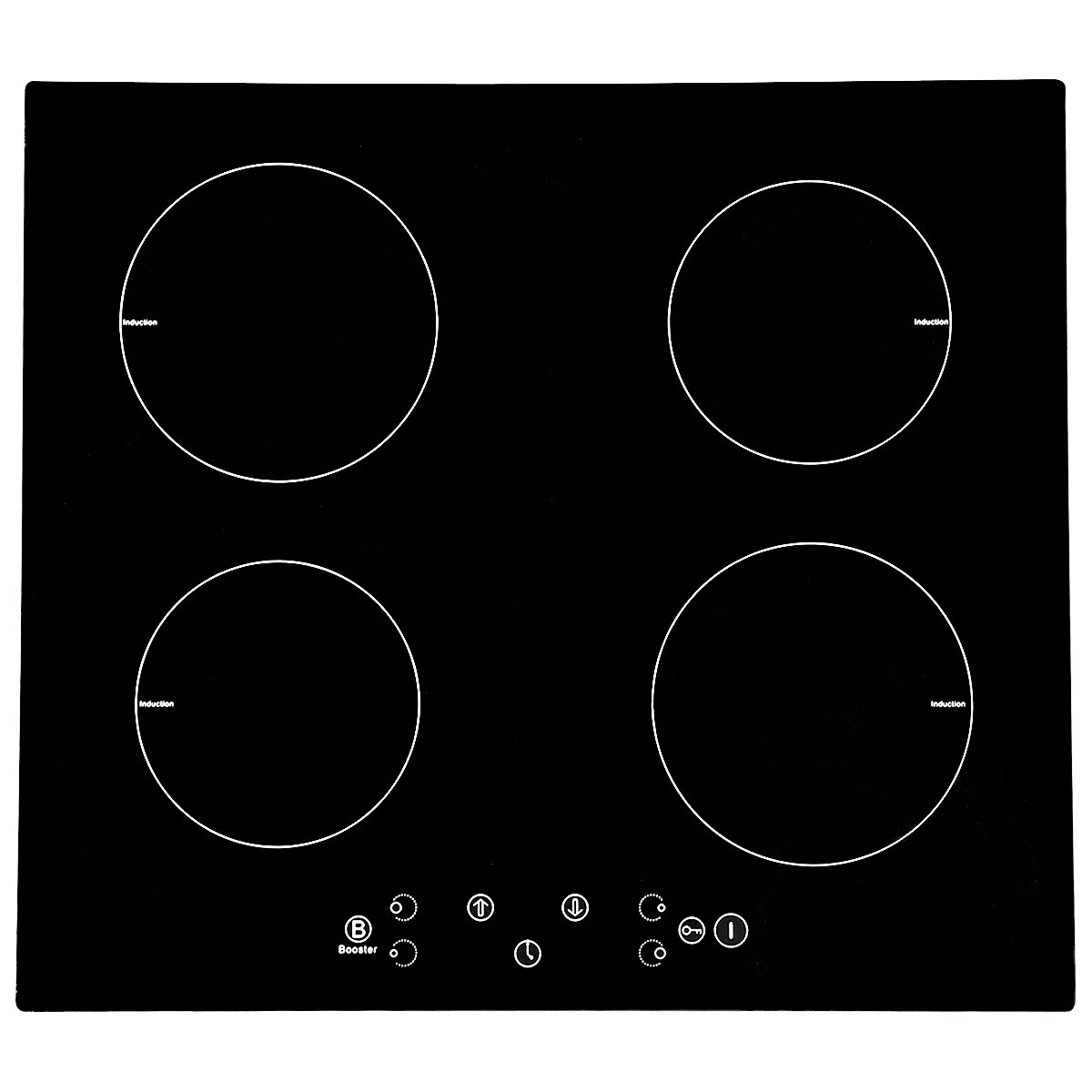 1 x60cm Electric Induction Hob,Black Touch Control,with 4 Cooking Zone, 9 Levels Heating,Maximum Power Rating:8000W,220-240V 50HZ (TYPE B) Feifeiyo