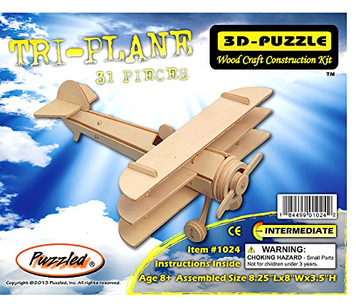 3-D Wooden Puzzle - Small Triplane Model -Affordable Gift for your Little One! Item #DCHI-WPZ-P074 by All4LessShop