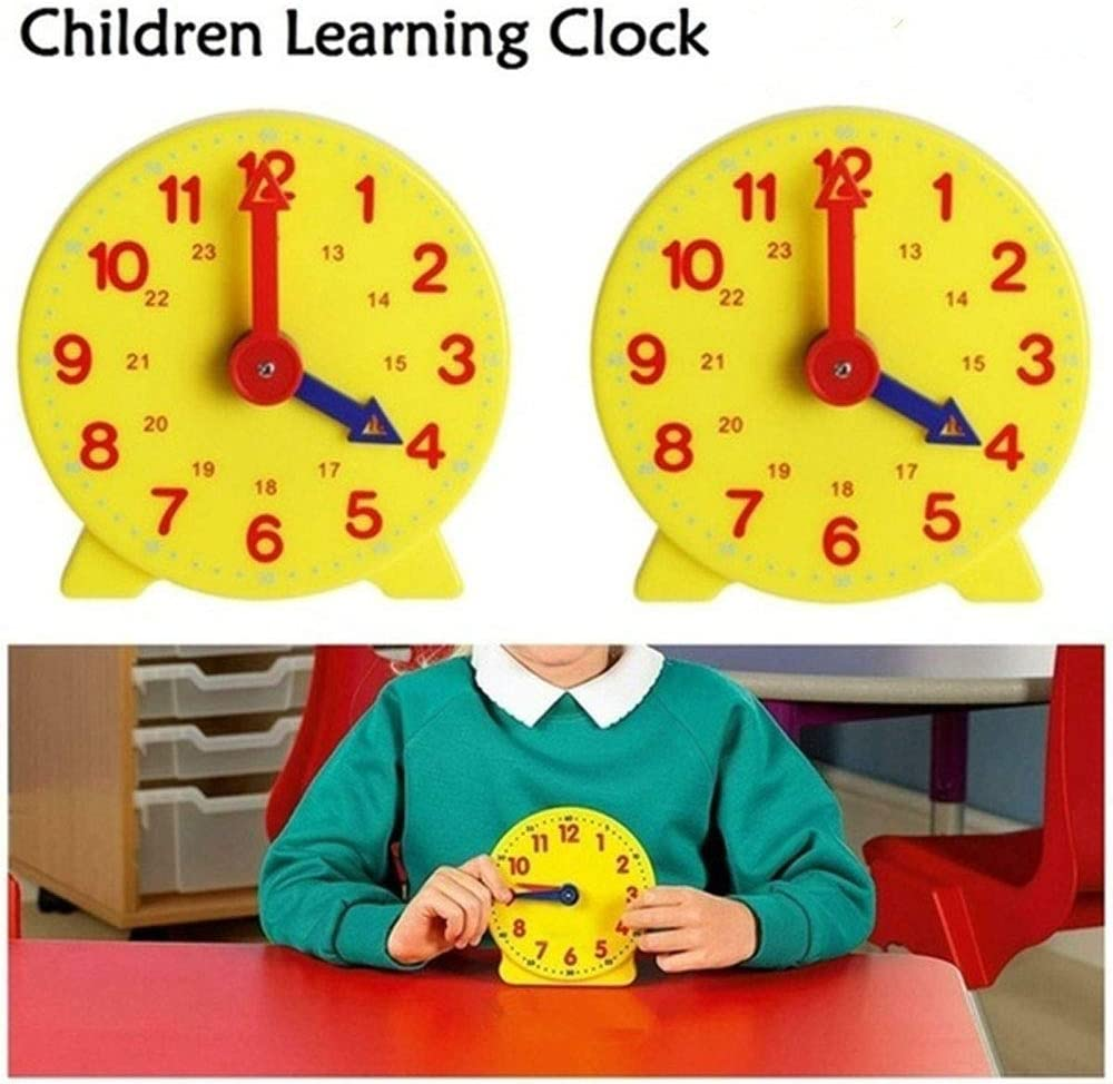 Deyan 4 Inch 12//24 Hour Student Learning Clock Time Model Teacher Gear Clock for Home School Learning Tools