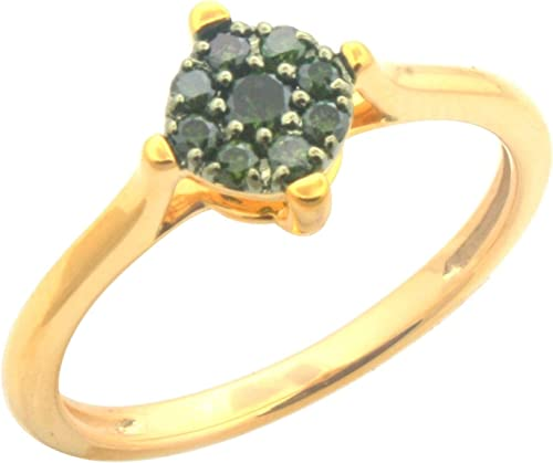 Fabulous Round Brilliant Cut Green Color Diamond Cluster Ring