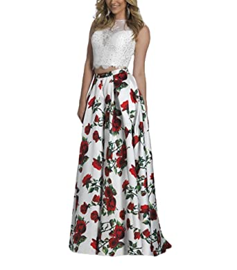 5b8b11ea1b473 Yiweir Women's Floral Beading Two Piece Prom Dresses 2018 Long ...