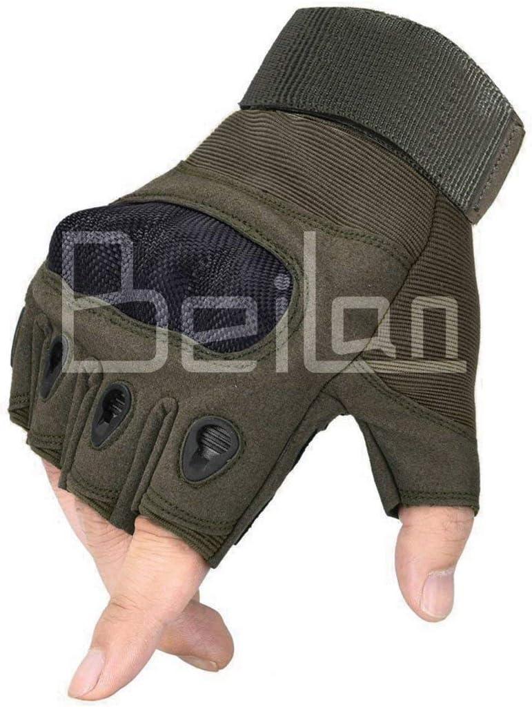 BeiLan Goma nudillo Duro Dedo Completo y Medio Dedo Guantes Guantes Protectores Guantes de Pantalla t/áctil para Motocicleta Ciclismo Caza Escalada Acampar M,L,XL