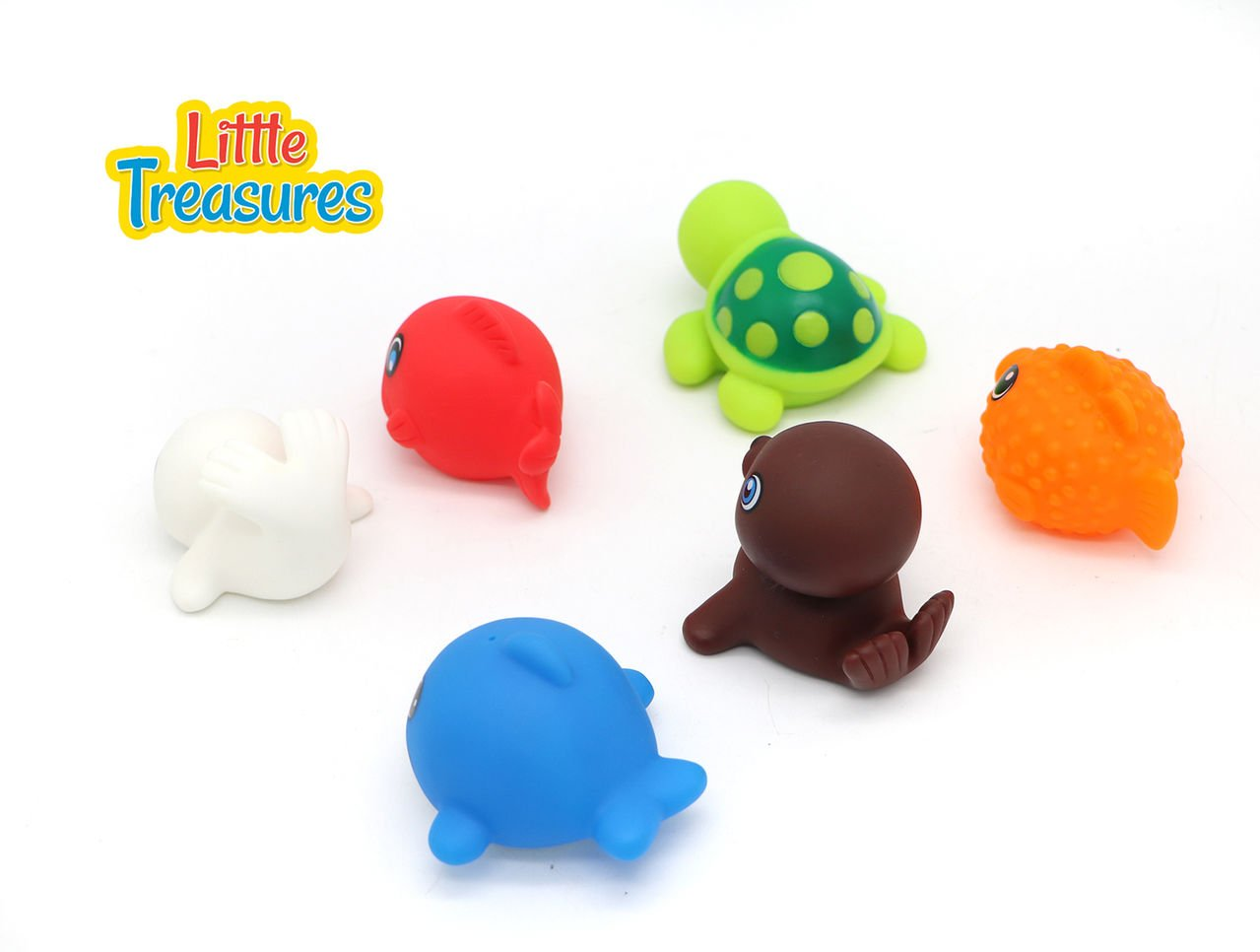 Turtle and More Animals from The Sea 328118 Little Treasures Floating Toy Animal Friend for Children/'s Bathtub Playtime Pack of 6 pc Bring Home a Loveable Seal Sea Lion