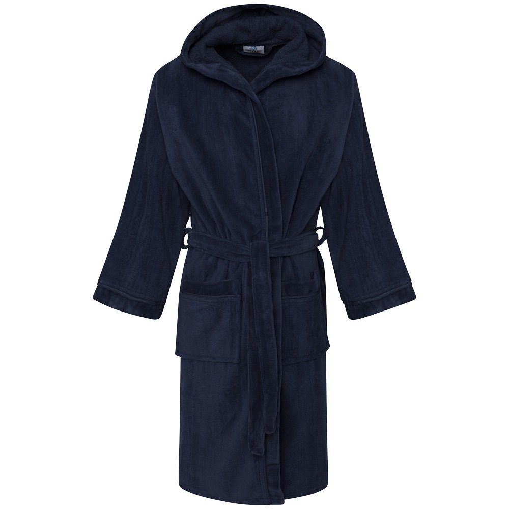GB Textiles Kids Boys Navy Blue 10-12 Years Luxury Hooded 100% Egyptian Cotton Velour Terry Towelling Bathrobe Dressing Gown