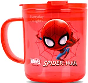 Marvel Spider-Man Red Durable Cup Clear Plastic Cup Mug with Lid & Straw, 300ml