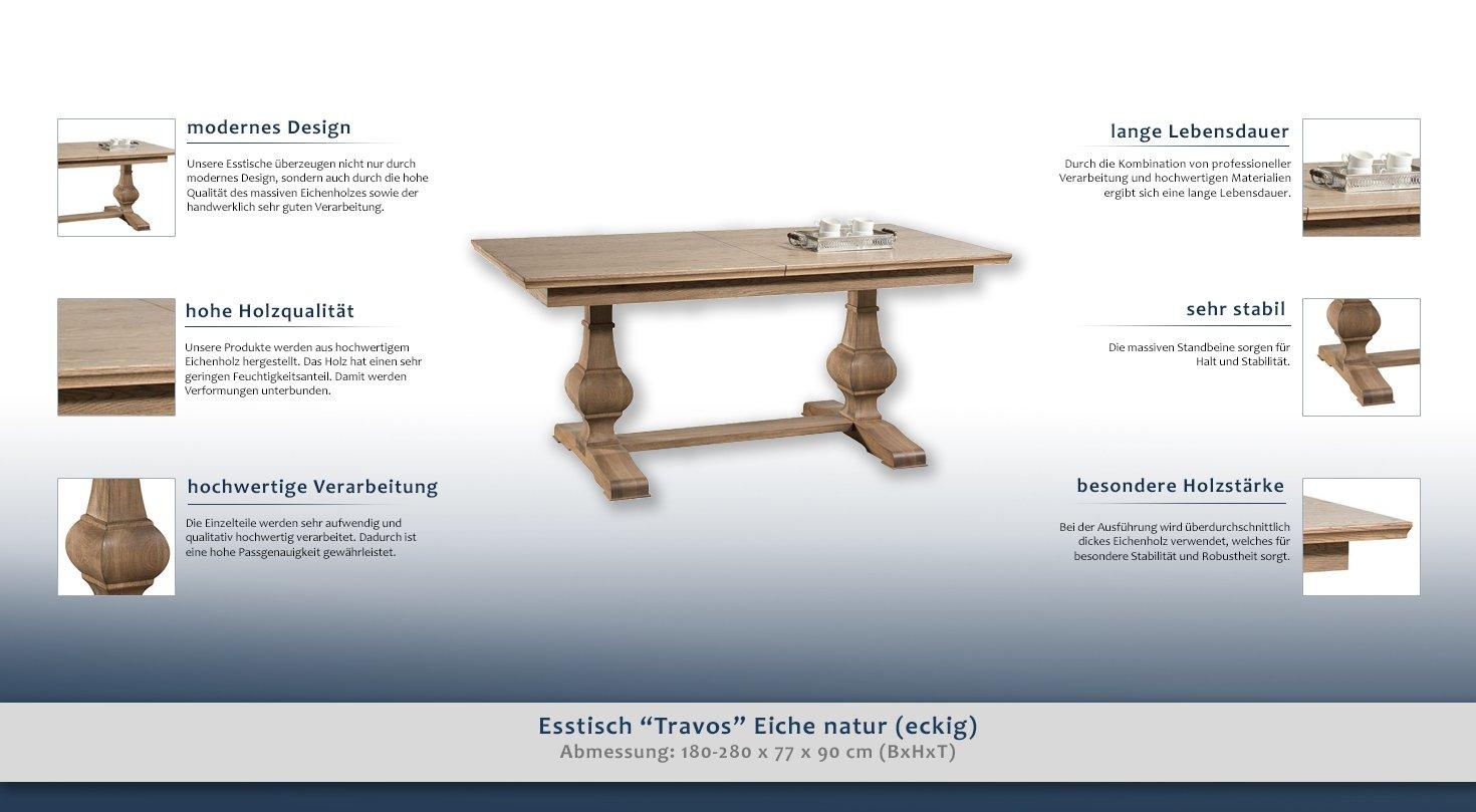 Mesa de comedor 180 x 100 cm Roble teilmassiv, extensible a ...