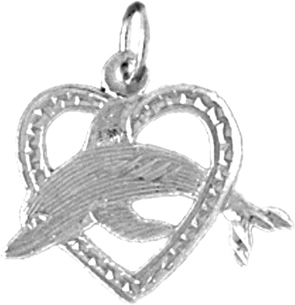 Jewels Obsession Dolphin Jumping Through Heart Pendant 20 mm Sterling Silver 925 Dolphin Jumping Through Heart Pendant