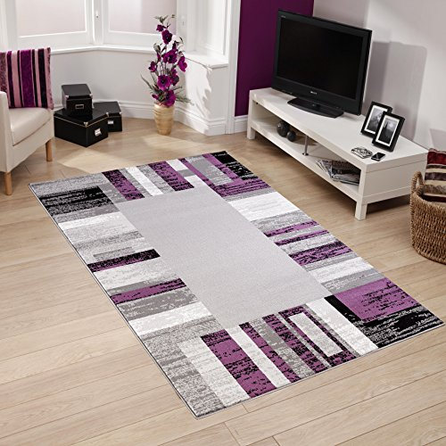 All New Modern Contemporary Geometric Design Area Rug Empire Collection by Rug Deal Plus (5' x 7', Grey/Purple)