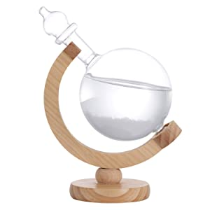 DRESSPLUS Globe Storm Glass Weather Station with Wooden Base,Creative Fashionable Storm Glass Weather Forecaster,Home and Party Decoration (B)