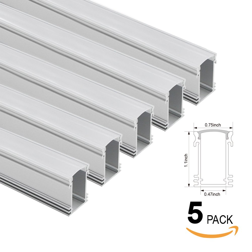 TORCHSTAR 5-PACK 1M/3.3ft U-Shape Aluminum Channel for flex/hard LED Strip Lights, Aluminum Profile w/ Oyster White Cover, End Caps, Mounting Clips - Emulational Neon Effect - U01