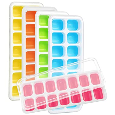 Kootek 5 Pack Silicone Ice Cube Trays with Lid - BPA Free 5 Color Ice Cube Molds Easy Release Flexible FDA Approved Trays with for Chill Drinks Whiskey Cocktail
