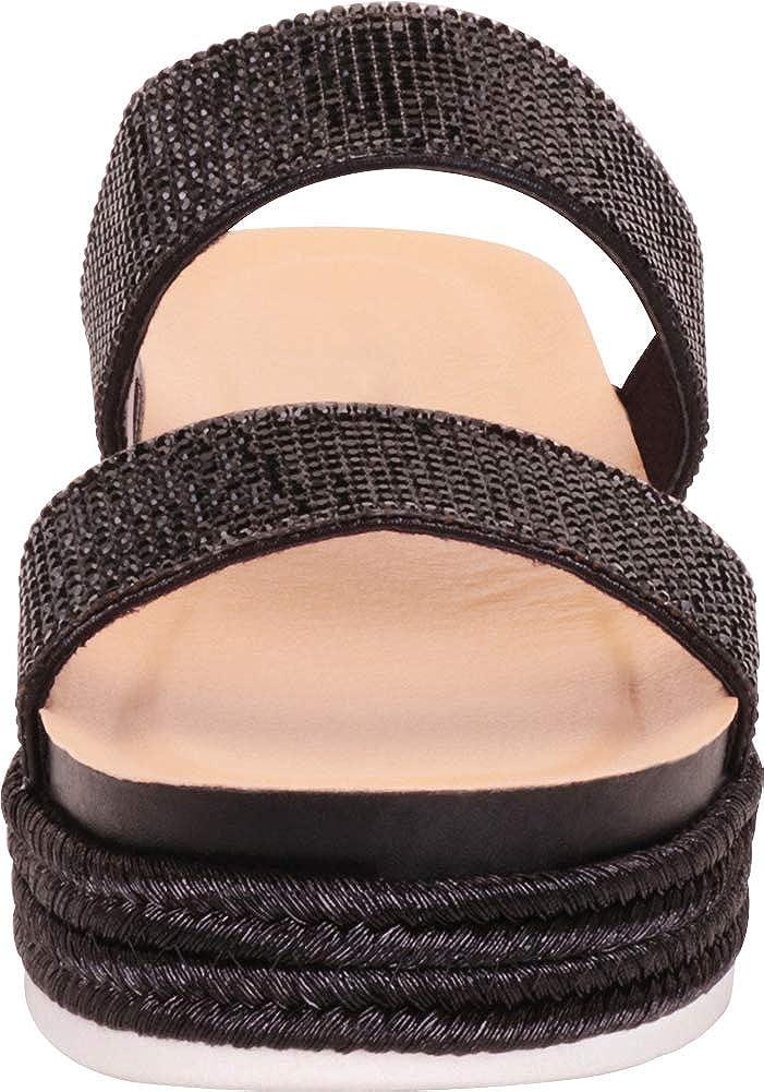 Cambridge Select Womens Two-Strap Slip-On Glitter Crystal Rhinestone Espadrille Flatform Slide Sandal