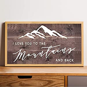 EricauBird I Love You to The Mountains and Back Wood Sign, Decorative Home Wall Art, Framed Sign for Home Wedding Party Farmhouse, Personalized Housewarming Gift, 12x22