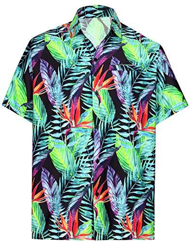 (HAPPY BAY Men Hawaiian Shirt Collar Button Down Black_AA11 L   Chest 44