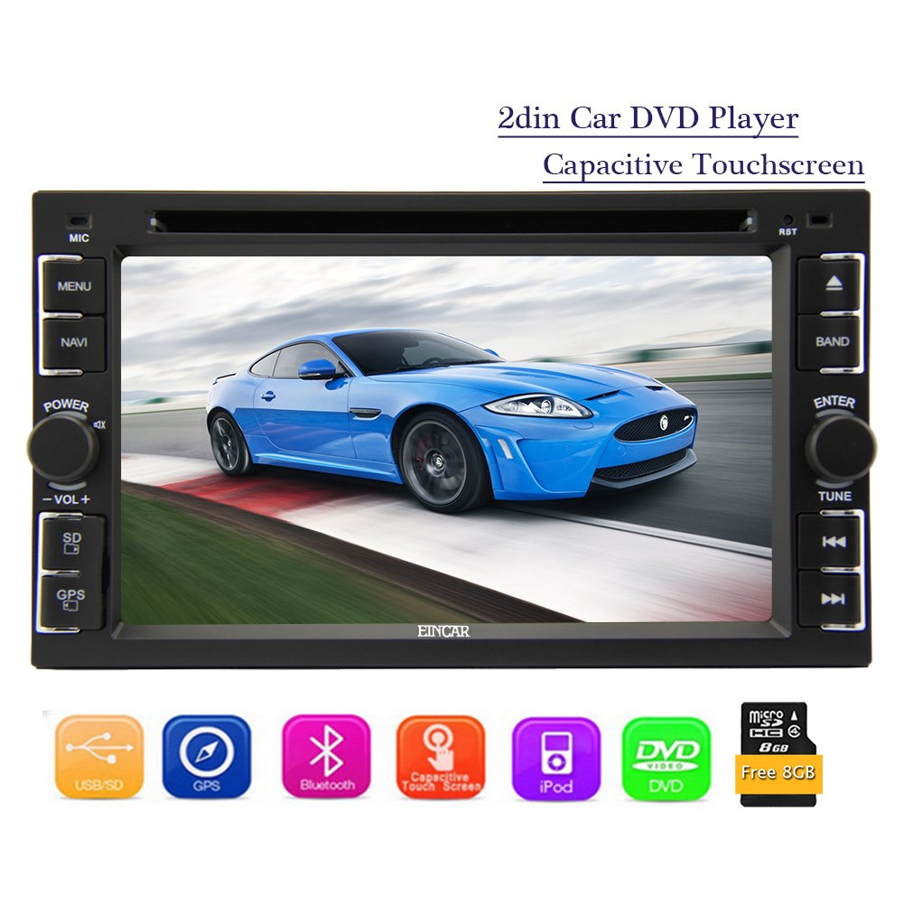 Eincar 2 Din 6.2 Inch Car Autoradio Stereo HD Capacitive Multi-touchscreen Head Unit support DVD CD Player AM FM Radio Multimedia Win8 system Autoradio Bluetooth Ipod USB/SD Aux Steer Wheel Function