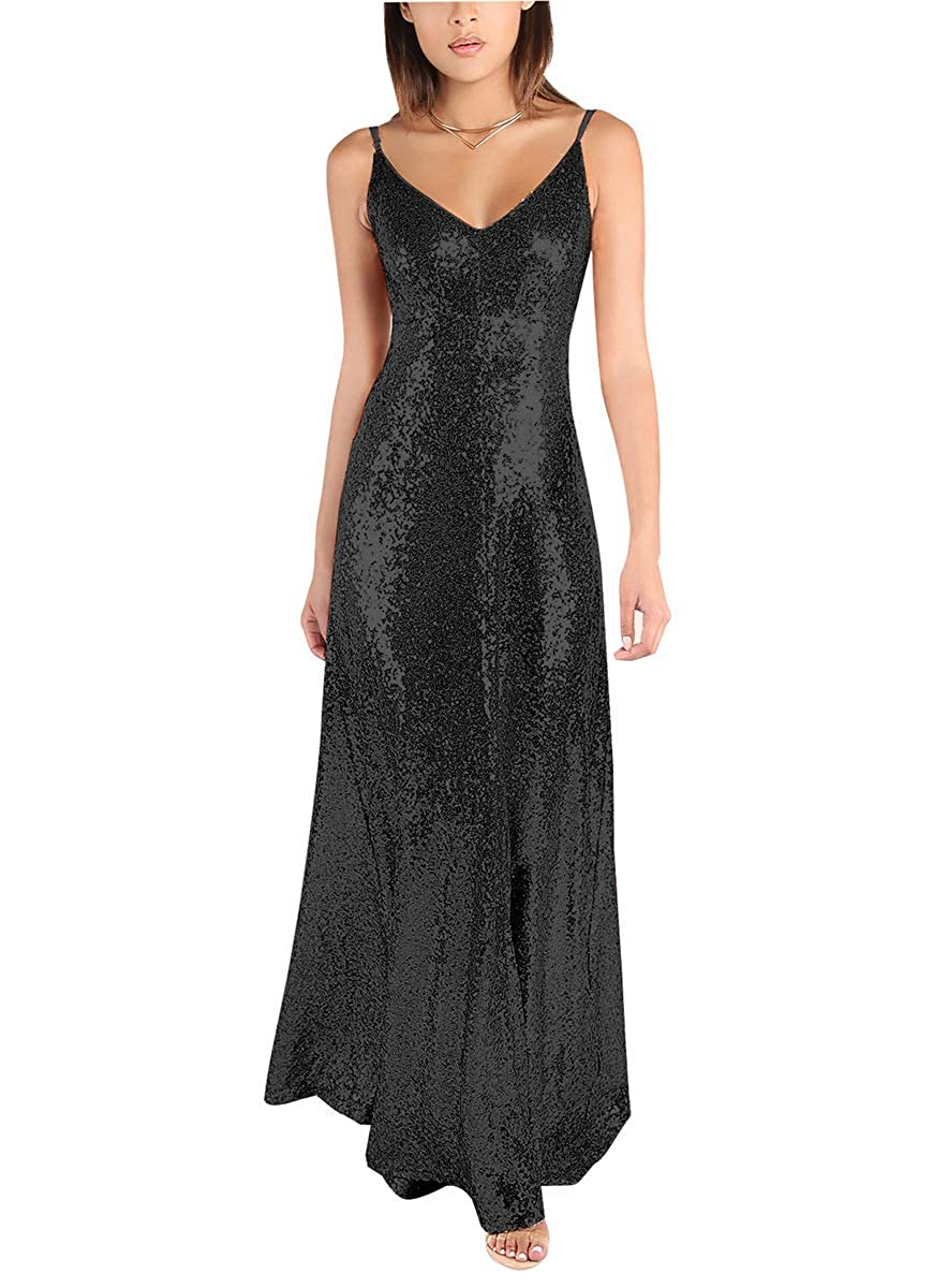 Black Sequin VNeck Bridesmaid Dresses Long Backless Spaghetti Evening Formal Gowns 2019