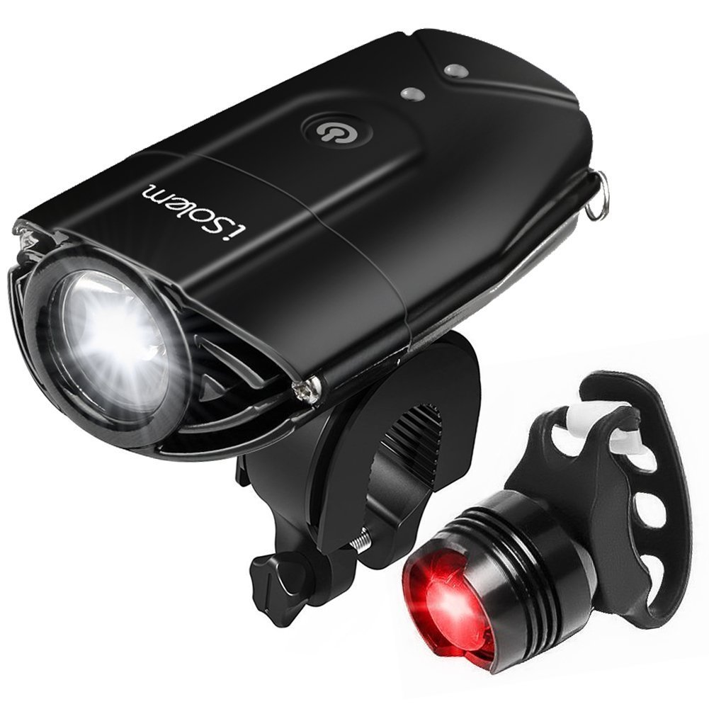 iSolem Rechargeable LED Bike Light Set, 3-Mode Bicycle Headlight and Taillight Combinations, IP65 Waterproof Front and Rear Cycling Safety Flashlight – Easy to Install for Kids and Adults