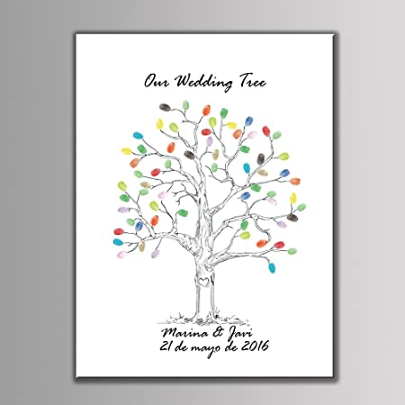 love balloons wedding personalized fingerprint painting canvas