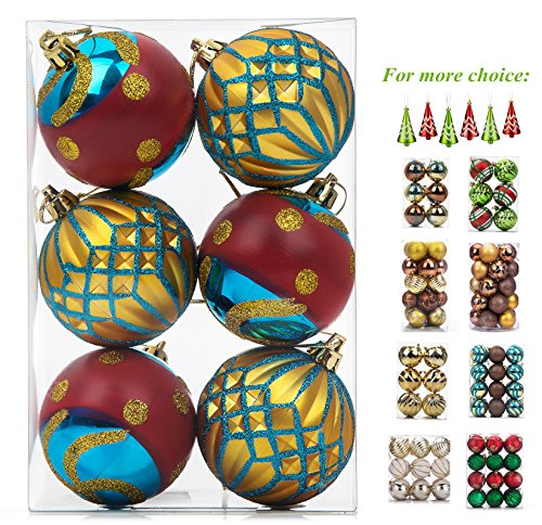 SANNO Christmas Tree Decorations Balls Ornaments Painting & Glittering Ball Shatterproof for Holiday Wedding Party, 6 Pcs, 60mm/2.36