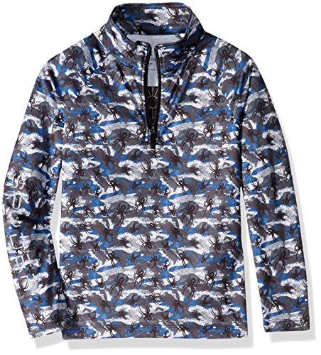 Spyder Boys Big Bug - Spyder Boys' Mini Limitless Bug Camo Half Zip T-neck Shirt, Camo Turkish/Black, Size 7