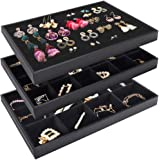 Mebbay Stackable Velvet Jewelry Trays Organizer, Jewelry Storage Display Trays with Full Artificial Leather Cover for Drawer, Earring Necklace Bracelet Ring Organizer, Set of 3 (Black)