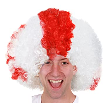 ST GEORGES AFRO WIG WHITE WIG WITH RED CROSS LARGE ST GEORGE WIG ENGLISH  ENGLAND SUPPORTERS cd3e77810