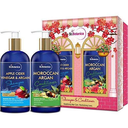 Organic Apples Support (StBotanica Apple Cider Vinegar & Organic Argan Oil Hair Shampoo + Argan Hair Conditioner, (10fl.oz each) - No Sulfates, Parabens or Silicones)