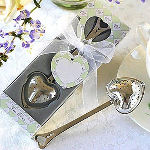 Party Tea Love (Heart Design Spoon Tea Infuser Filter Wedding Souvenir Bridal Shower Favor Gift hwangli)