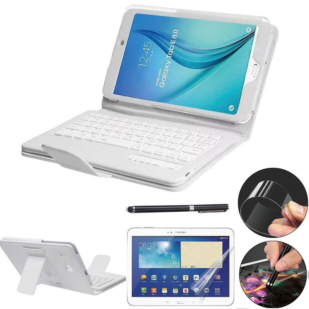 detailed look 9ac39 62c07 Galaxy Tab E 8.0 Keyboard Case with Screen Protector & Stylus, REAL-EAGLE  Slim Separable Fit PU Leather Case Cover Bluetooth Keyboard for Tab E 8.0  ...