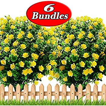 Artificial Flowers Outdoor Plastic Mums - Outside Face Plants Fake Greenery UV Resistant No Fade Faux Daffodils Bundles Shrubs Home Garden Porch Patio Decoration Office Indoor (Yellow)