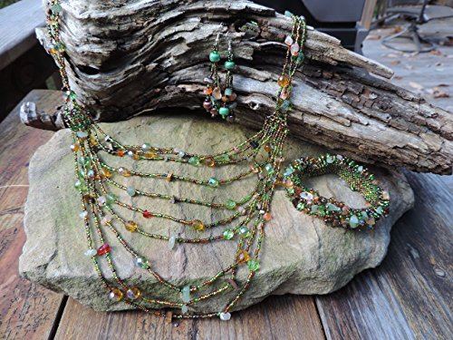 Western/Cowgirl Style- 10 Layered Strands Necklace, Bracelet & Earrings.