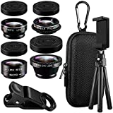 5 in 1 Cell Phone Camera Lens Kit with Tripod & Adapter, AFUNTA HD Clip-on Macro & Wide Angle Lens, Fisheye Lens, Polarizer Lens and Telephoto Lens for iPhone Samsung Most Smartphones