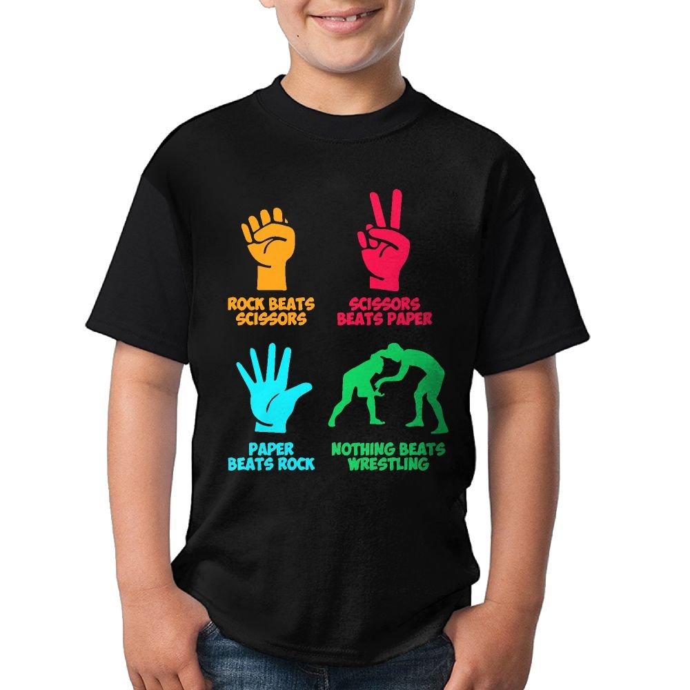 HUDS VIFV Rock Paper Nothing Beats Wrestling Boys Crew Neck Short Sleeve T-Shirts Tees