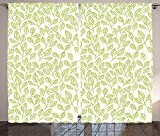 Leaves Decor Curtains Watercolor Green Tea Leaves And Branches Lines And Patterns Contemporary Illustration Living Room Bedroom Decor 2 Panel Set Green Ecru For Sale