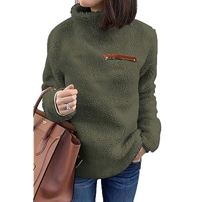 ASHER FASHION Sherpa Jacket Women Pullover Sweaters Fleece Sweatshirt Tunic Tops Blouses at Women's Clothing store