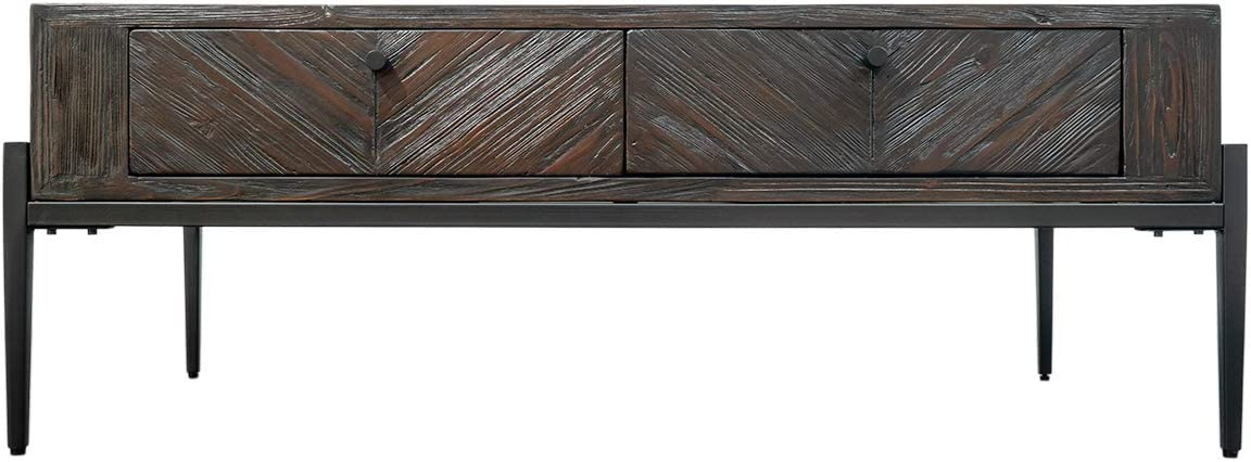 Hmleton Rustic Rectangle Coffee Table with Storage Drawers, Retro Style Furniture with Metal Frame for Living Room,Easy Assembly