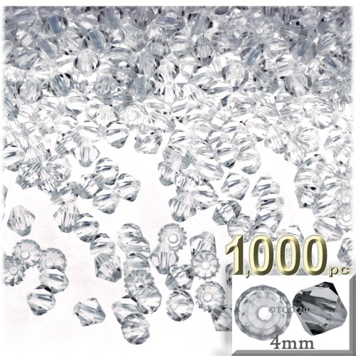 (The Crafts Outlet, 1,000-pc Acrylic Bicone Beads, Faceted, 4mm, Clear)