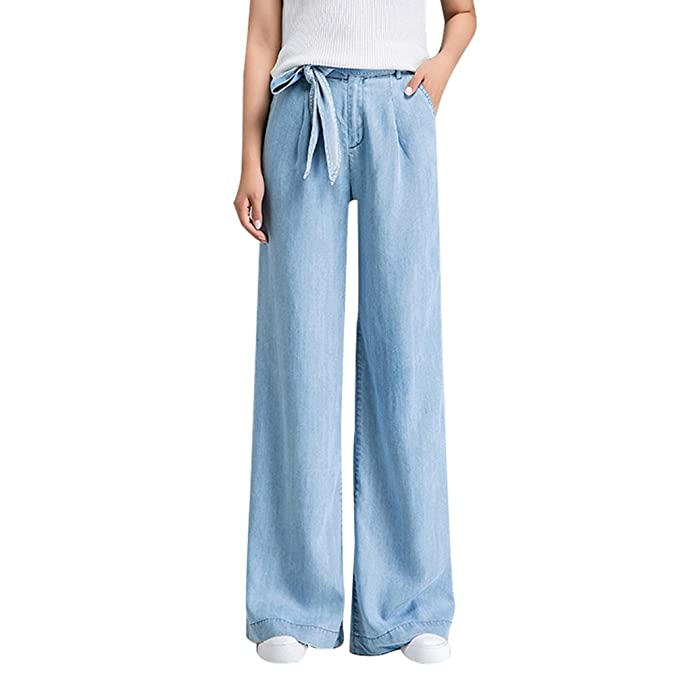 f129b7841d3e Xinwcanga Donna Casual Jeans Baggy Gamba Larga Pantaloni con Denim Cintura:  Amazon.it: Abbigliamento