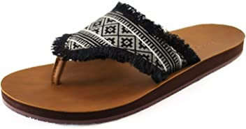 7b8a50d4098 Feelgoodz Women s Cabanas Vegan Leather Flip Flops with Printed Hmong  Pattern Fabric Strap - Fair Trade