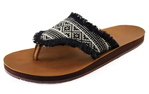 fd3c7bf392f4e0 Feelgoodz Women s Cabanas Vegan Leather Flip Flops with Printed Hmong  Pattern Fabric Strap - Fair Trade