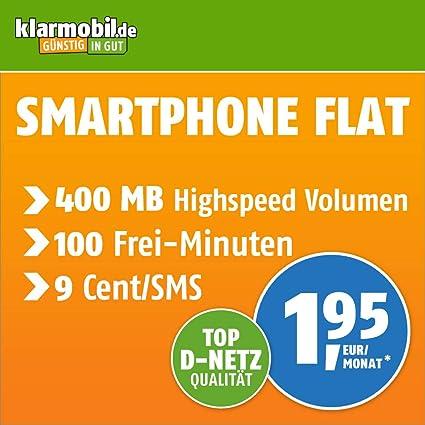 Klarmobil Sim Karte.Klarmobil Smartphone Flat S Mit 400 Mb Internet Flat Max 21 Mbit S 100 Frei Minuten In Alle Deutschen Netze Eu Roaming 24 Monate Laufzeit 1 95