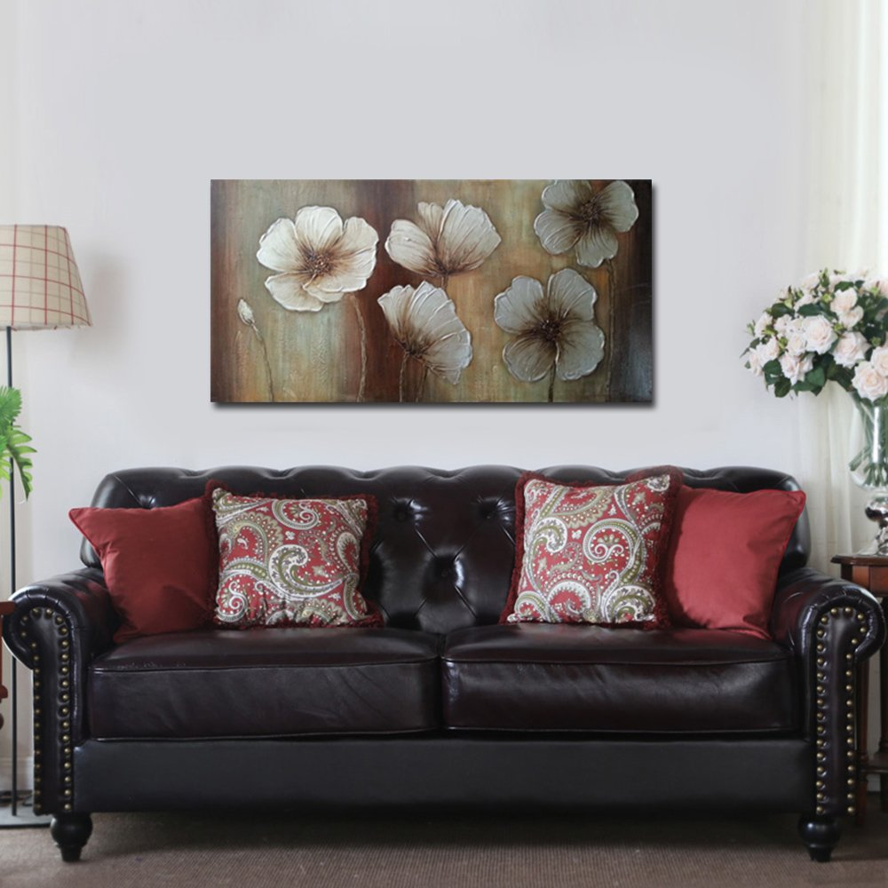 Wieco Art The Memory Large Abstract Floral Oil Paintings on Canvas Wall Art for Living Room Bedroom Home Decorations Modern 100 Hand Painted Gallery Wrapped Contemporary Brown Flowers Artwork
