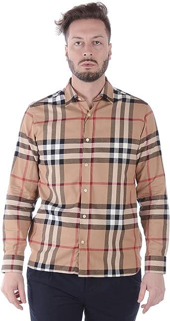 BURBERRY - Camisa Hombre 8004881 Richard Beige: Amazon.es: Ropa y accesorios