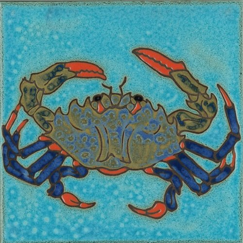 Pacific Blue Tile Original Hand Painted Ceramic Art Tile, 6 x 6 inch - Blue Crab ()
