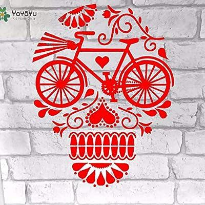yaoxingfu Vinilo Tatuajes de Pared Calaveras Flora Bicicleta ...
