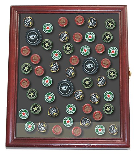 - Display Case Wall Shadow Box Frame for Bottle Caps Collection Made of Wood, Glass Door Cherry Finish